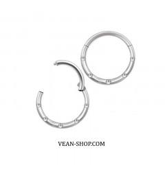 Сегментное кольцо с фианитами (титан) (П)